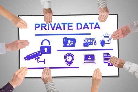Photo pour Private data concept on a whiteboard held by hands - image libre de droit