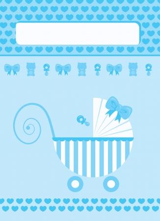 Illustration pour New born baby boy blue greeting card - image libre de droit