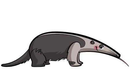 Illustration pour Cartoon anteater animal eating sticking out its tongue - image libre de droit