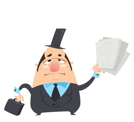 Cartoon serious fat lawyer man in black suit glasses and hat is holding in funny way a briefcase and delivering summon