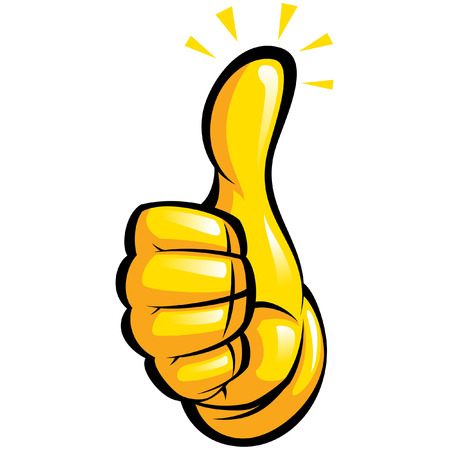 Illustration for Cartoon hand with yellow glove in a thumb up gesture with black outlines - Royalty Free Image