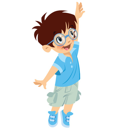 Ilustración de Cute smiling little boy with glasses trying to reach something while looking up - Imagen libre de derechos