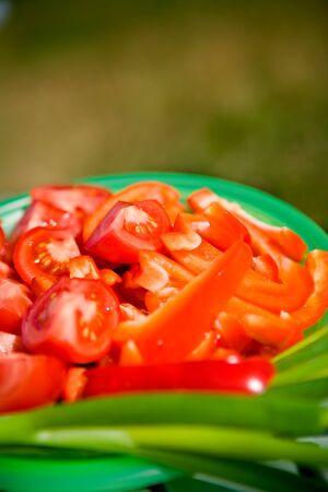 a tomato salad. scene from salad bar