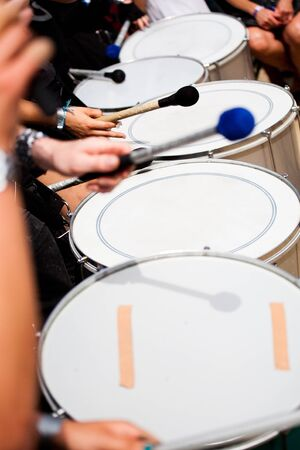 A Drums band on the street. Scenes of Samba Festival in Coburg, Germany