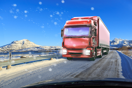 Foto für a truck on the wintry road, symbolic picture for cargo and transportation companies - Lizenzfreies Bild
