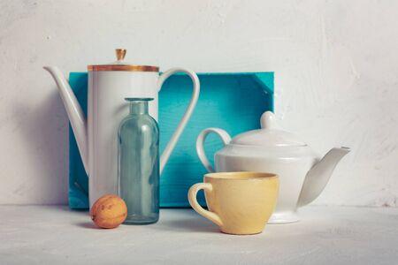 Photo pour a still life with glassware on white background - image libre de droit