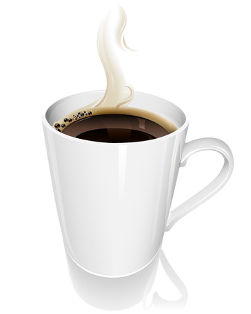 illustration of a steaming hot cup of coffee