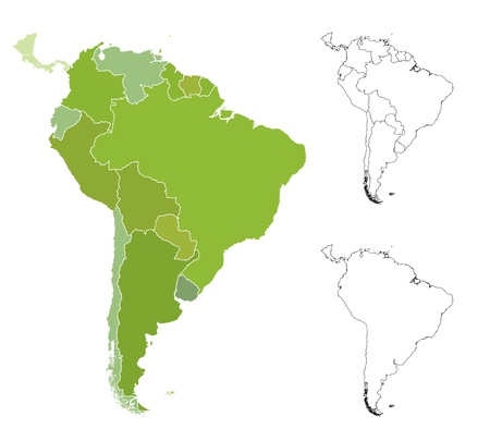 Highly detailed map of the South American countries.