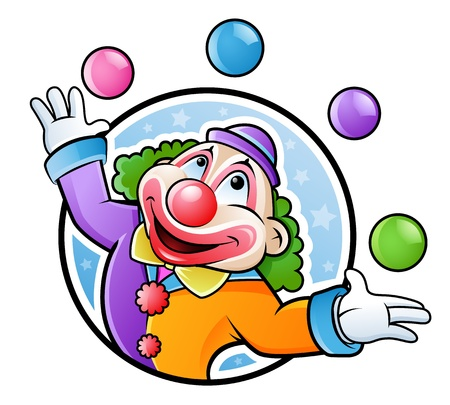 Happy clown juggling with balls in many colors