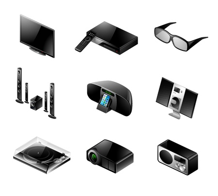 Vector set of 9 modern black TV and audio icons