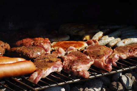 infinite variety of meat and barbecue in the summer garden