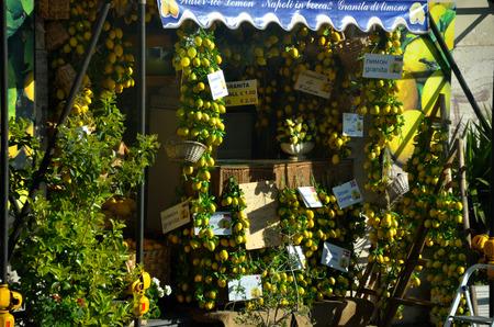 lots of fresh lemons on a stall in Naples