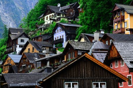 colorful old wooden houses in Hallstatt at the lake