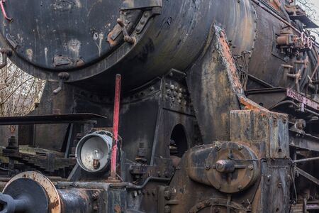 Photo pour detail view of a steam locomotive with light under the boiler - image libre de droit