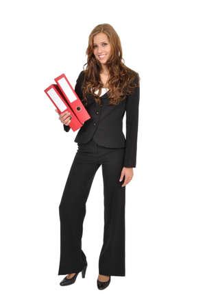 Photo pour Trainee carries two red folder - image libre de droit