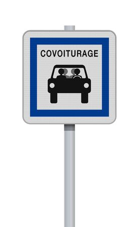 Illustration pour Vector illustration of the French carpool road sign on metallic post - image libre de droit