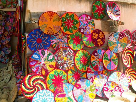 Colorful straw plates sold in Ethiopia