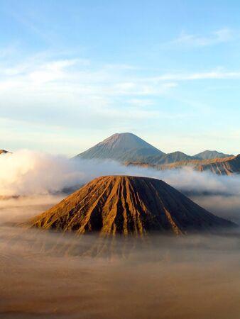 Volcanos Semeru and Batok in Tengger Caldera, Java, Indonesia