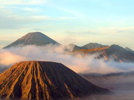 Volcanos Semeru, Batok and Bromo in Tengger Caldera, Java, Indonesia