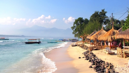 Beautiful tropical beach on Gili Air island, Lombok, Indonesia