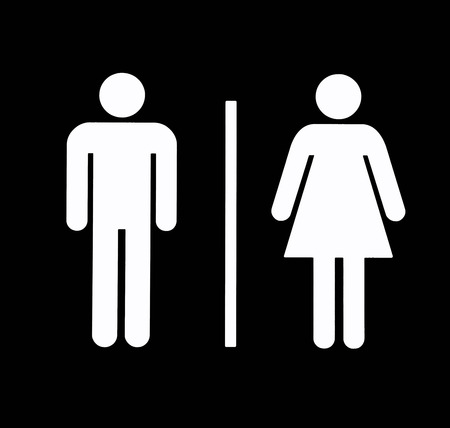 Uni Bathroom / Restroom Symbol, White On Black, Background