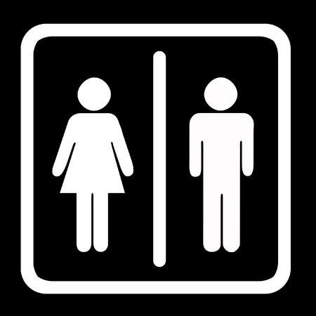 Women's And Men's Toilets Sign, White On Black