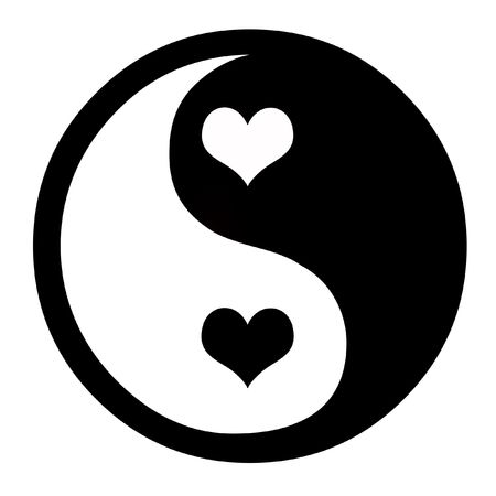 Asian Yin Yang Symbol With Hearts, Coceptual Background