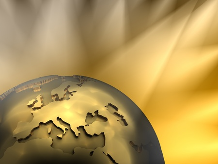 Gold globe close-up - Europe, visible spotlights in background