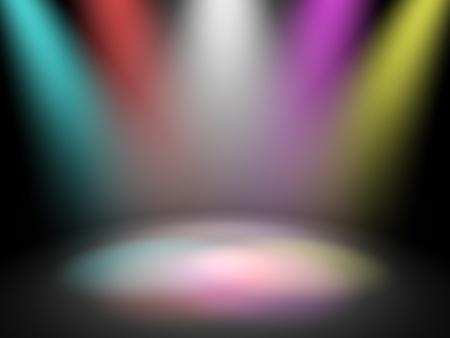 Photo pour Empty theater stage with spot disco lights, 3d render - image libre de droit