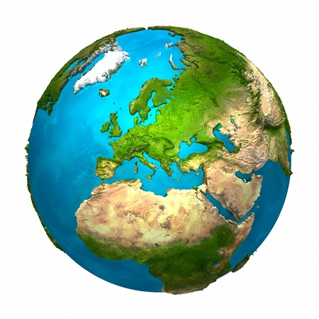 Planet Earth - Europe - colorful globe with detailed and realistic surface, 3d renderの写真素材