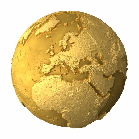 Gold globe - metal earth with realistic topography - europe, 3d render