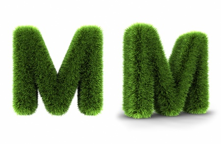 Grass letter m, isolated on white background