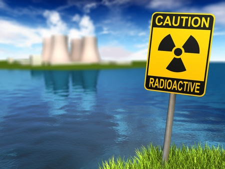 Warning sign with radioactive symbol and nuclear power plant on the coast, 3d render
