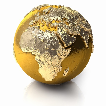 Gold globe with realistic topography and light reflections, metal earth - africa, 3d render