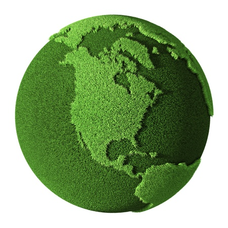 Grass Globe - North America, isolated on white background  3d render