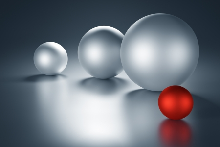 Red metal ball next to other metal balls with copy space. 3d render