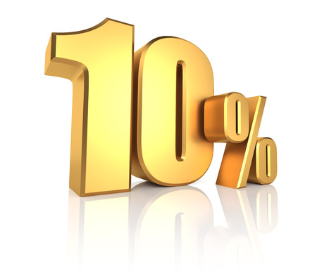 10 percent on white background. 3d rendering gold metal discount