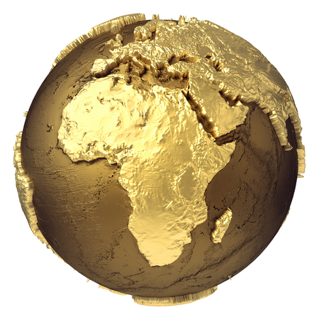 Foto de Golden globe model without water. Africa. 3d rendering isolated on white background. - Imagen libre de derechos