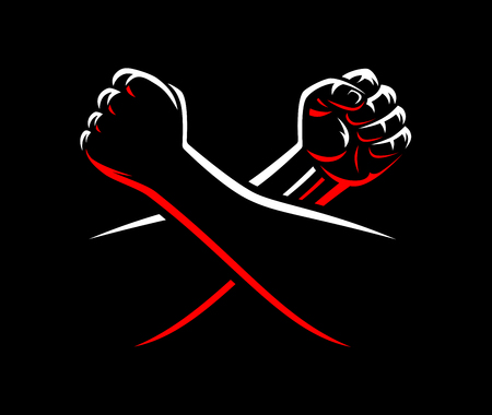 Vector clenched fists fight MMA, wrestling, kick boxing, karate sport night cage show illustration on dark background