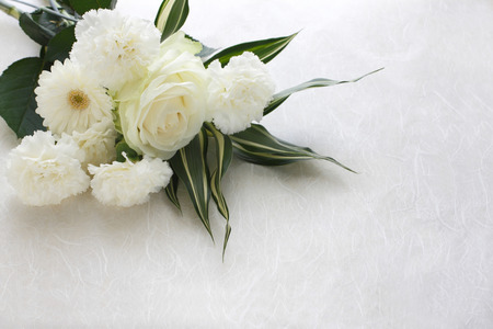 Photo for Three kinds of white flower arrangement material - Royalty Free Image