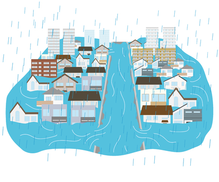 town flooded with heavy rains and rivers flooded