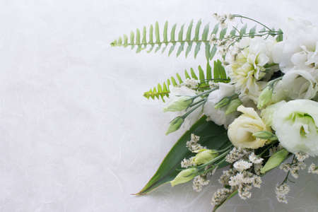 Photo for Flower arrangement of several kinds of white flowers and leaves. - Royalty Free Image