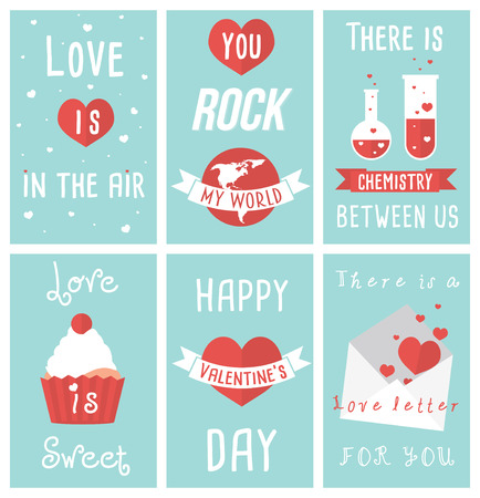 Set of modern flat design illustrations of Valentines day greeting cards