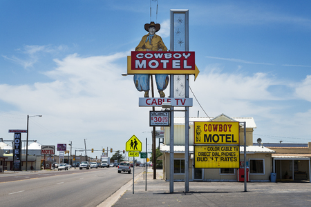 Amarillo, Texas - July 8, 2014: The old Cowboy Motel along the historic Route 66 in the Amarillo, Texas, USA.