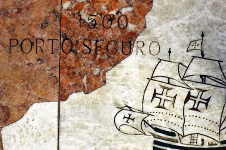 Detail of a caravel at the wind rose in marble near the Monument to the portuguese sea discoveries at Lisbon, Portugal