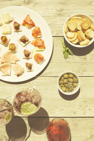Appetizers on a summer day with wine