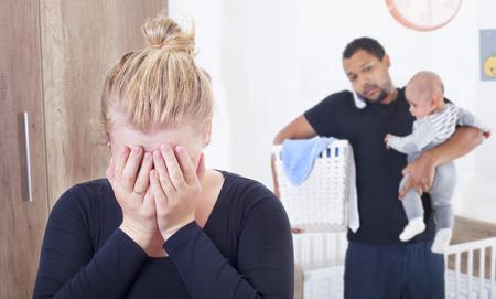 Photo pour Young woman suffering from postpartum depression - image libre de droit