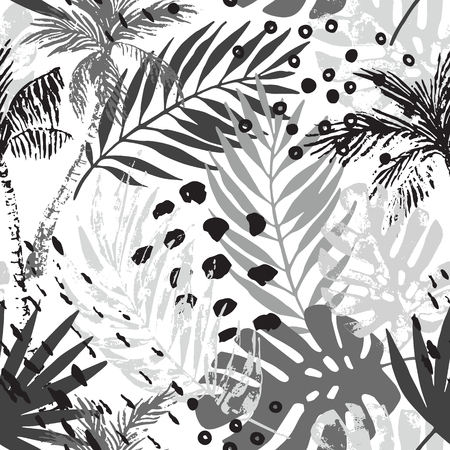 Nature seamless pattern. Hand drawn abstract tropical summer background: palm trees, monstera, fan palm leaves, squiggles, dots. Vector art illustration in monochrome colors