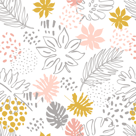 Abstract exotic leaves seamless pattern. Hand drawn tropical summer background: Philodendron monstera, palm leaf contours, silhouette, squiggles, dots. Vector art illustration in pastel colors