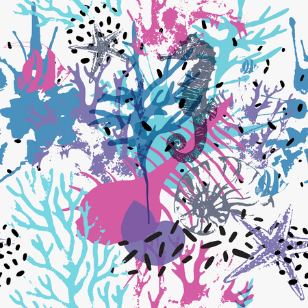 Illustration for Creative abstract marine seamless pattern. Vector sea life background with shabby corals, distorted sea star, grunge texture, splatter, rough brush strokes. Hand drawn art illustration - Royalty Free Image
